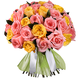 Букет из 55 розовых и желтых роз